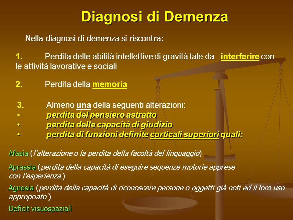 Nella diagnosi di demenza si riscontra: