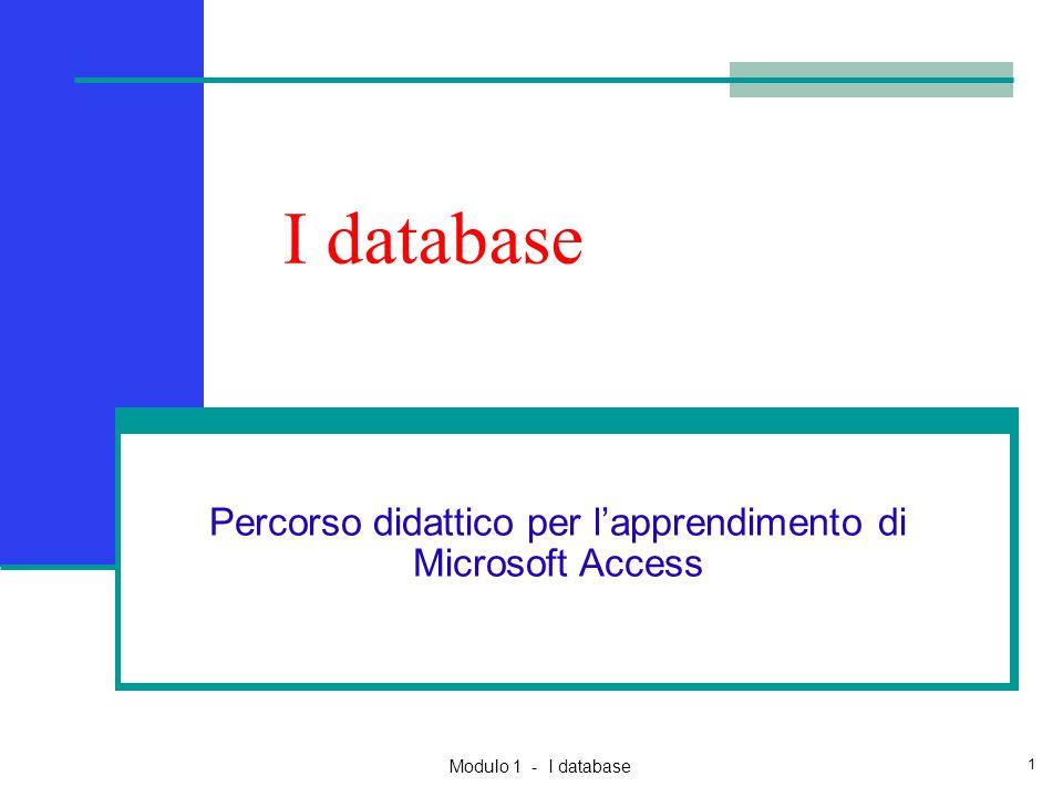 Percorso didattico per l'apprendimento di Microsoft Access