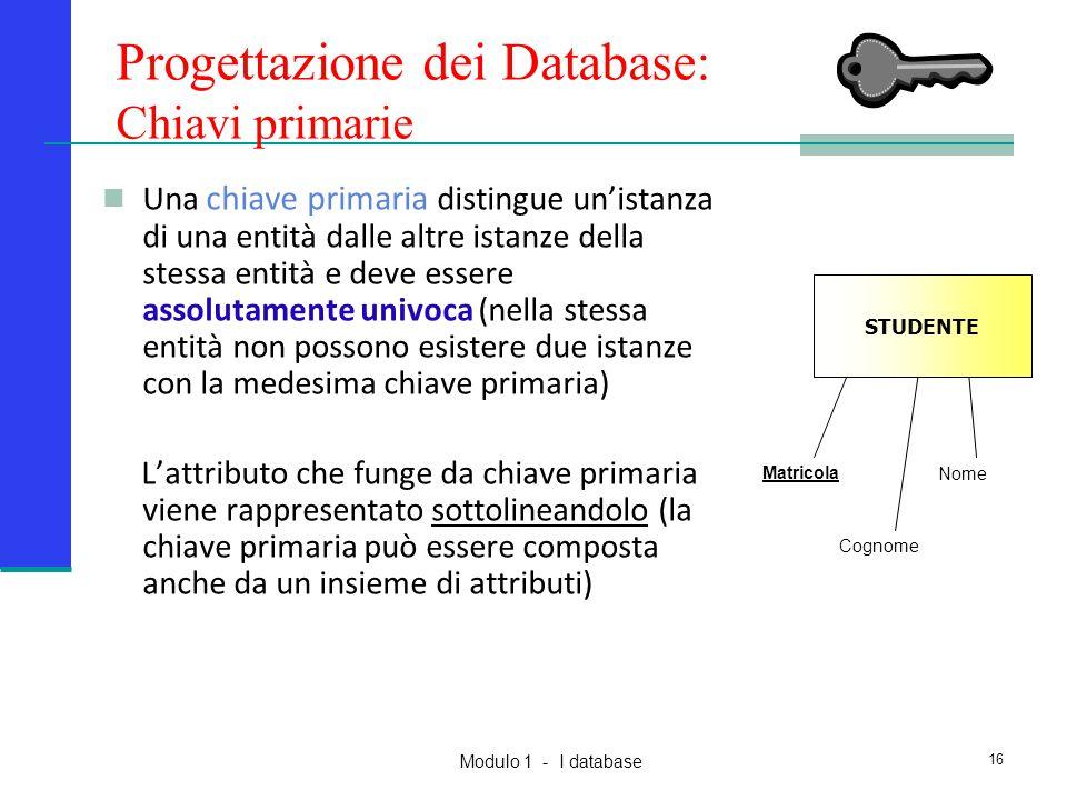 Progettazione dei Database: Chiavi primarie