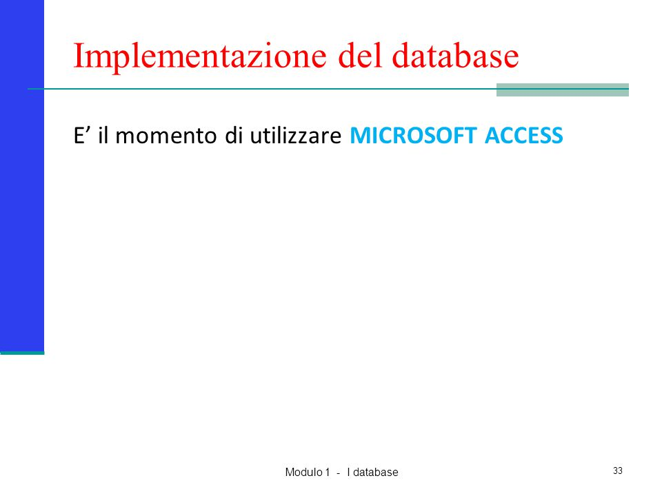 Implementazione del database