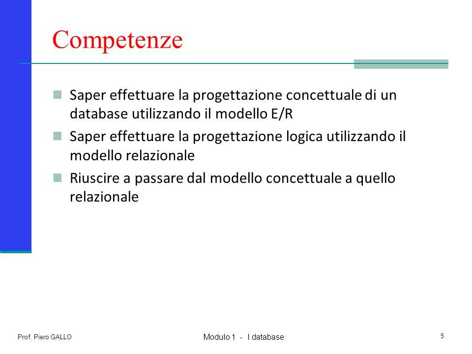 Competenze Saper effettuare la progettazione concettuale di un database utilizzando il modello E/R.