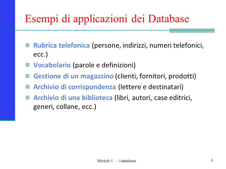 Esempi di applicazioni dei Database