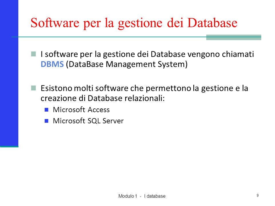 Software per la gestione dei Database