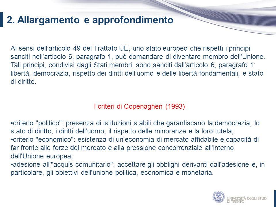 I criteri di Copenaghen (1993)