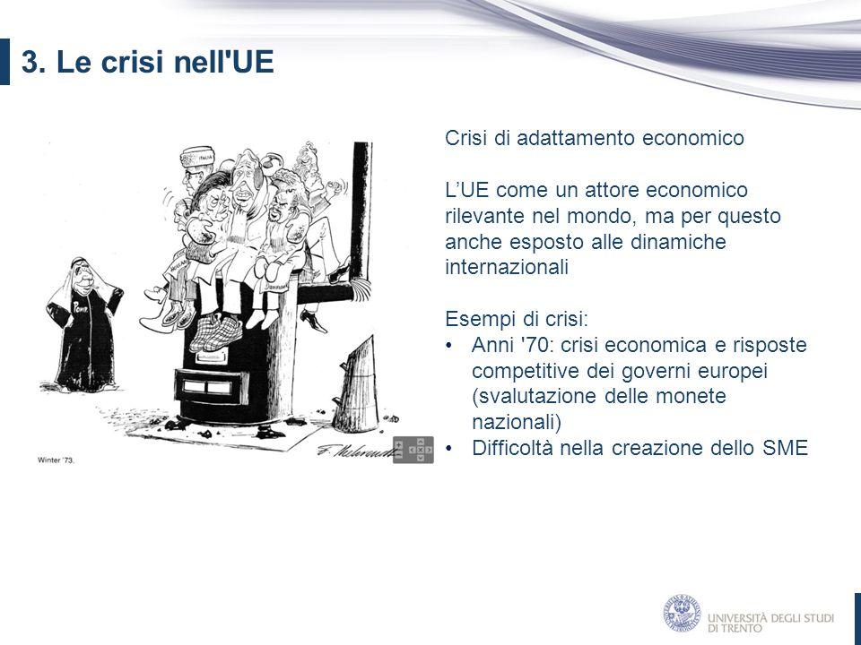 3. Le crisi nell UE Crisi di adattamento economico