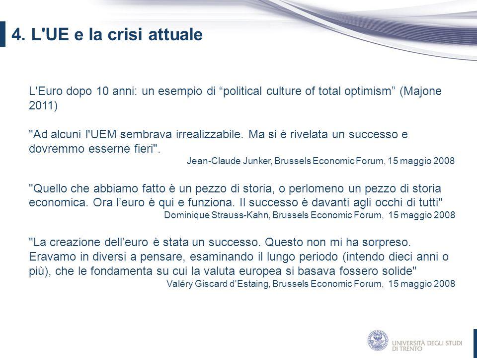 4. L UE e la crisi attuale L Euro dopo 10 anni: un esempio di political culture of total optimism (Majone 2011)