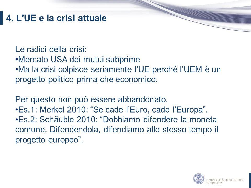 4. L UE e la crisi attuale Le radici della crisi: