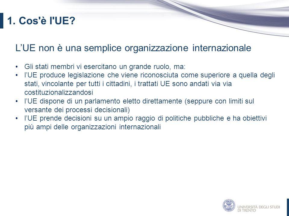 1. Cos è l UE L'UE non è una semplice organizzazione internazionale