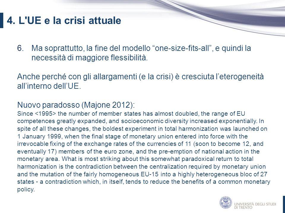 4. L UE e la crisi attuale Ma soprattutto, la fine del modello one-size-fits-all , e quindi la necessità di maggiore flessibilità.