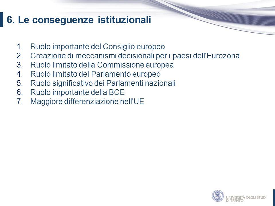 6. Le conseguenze istituzionali