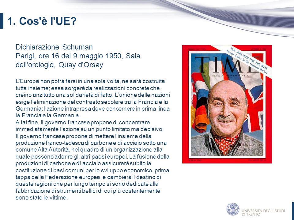 1. Cos è l UE Dichiarazione Schuman