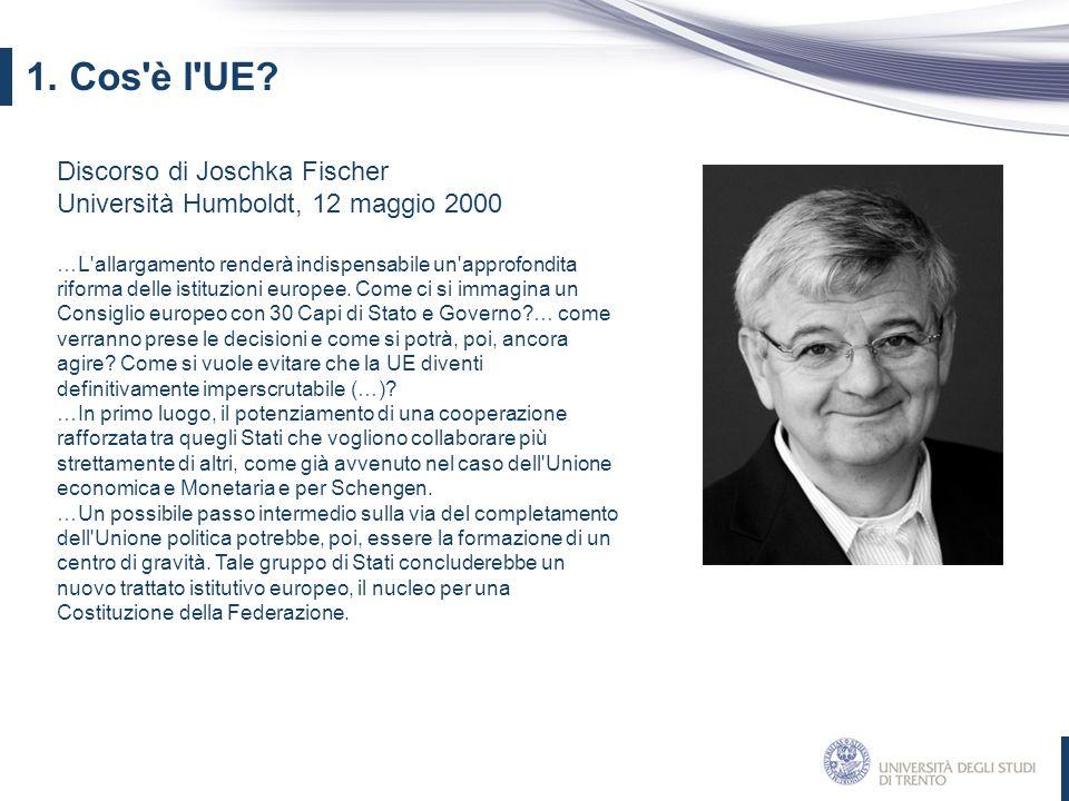 1. Cos è l UE Discorso di Joschka Fischer