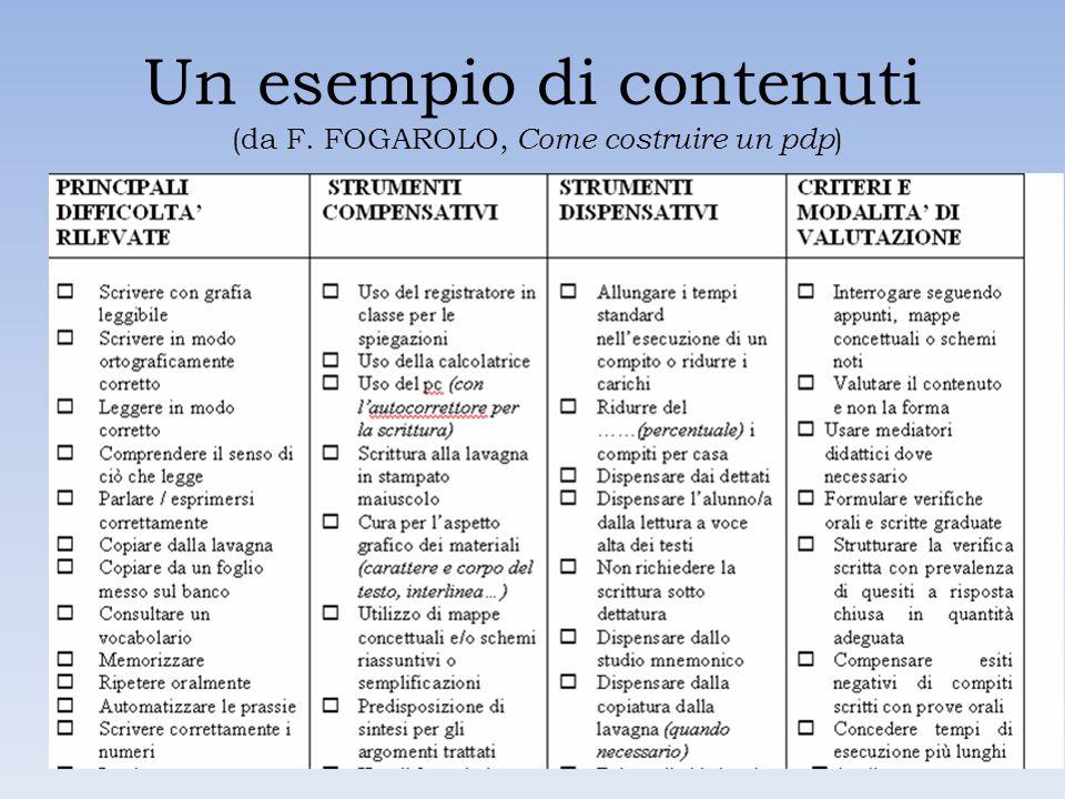 Un esempio di contenuti (da F. FOGAROLO, Come costruire un pdp)
