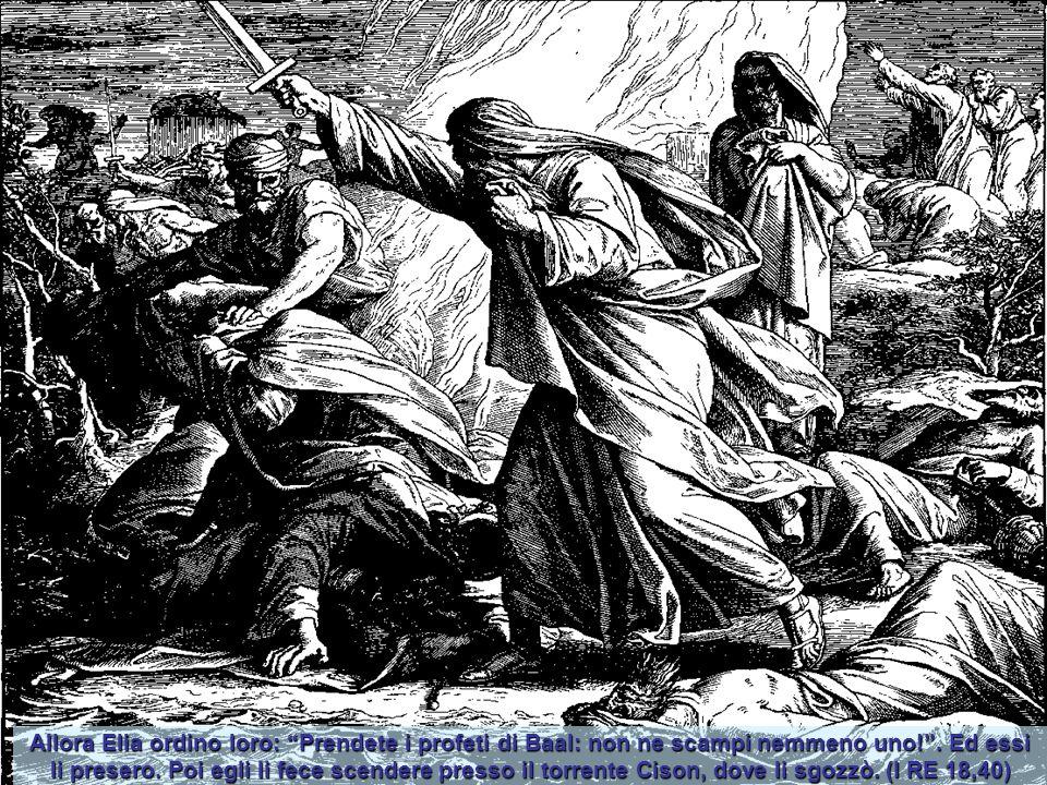 Allora Elia ordino loro: Prendete i profeti di Baal: non ne scampi nemmeno uno! .