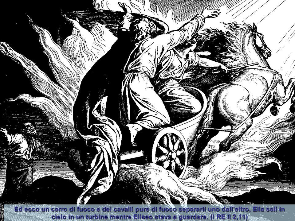 Ed ecco un carro di fuoco e dei cavalli pure di fuoco separarli uno dall'altro, Elia salì in cielo in un turbine mentre Eliseo stava a guardare.
