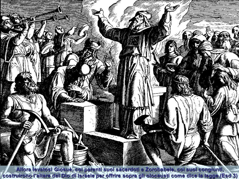 Allora levatosi Giosuè, coi parenti suoi sacerdoti e Zorobabele, coi suoi congiunti, costruirono l'altare del Dio di Israele per offrire sopra gli olocausti come dice la legge.(Esd 3)