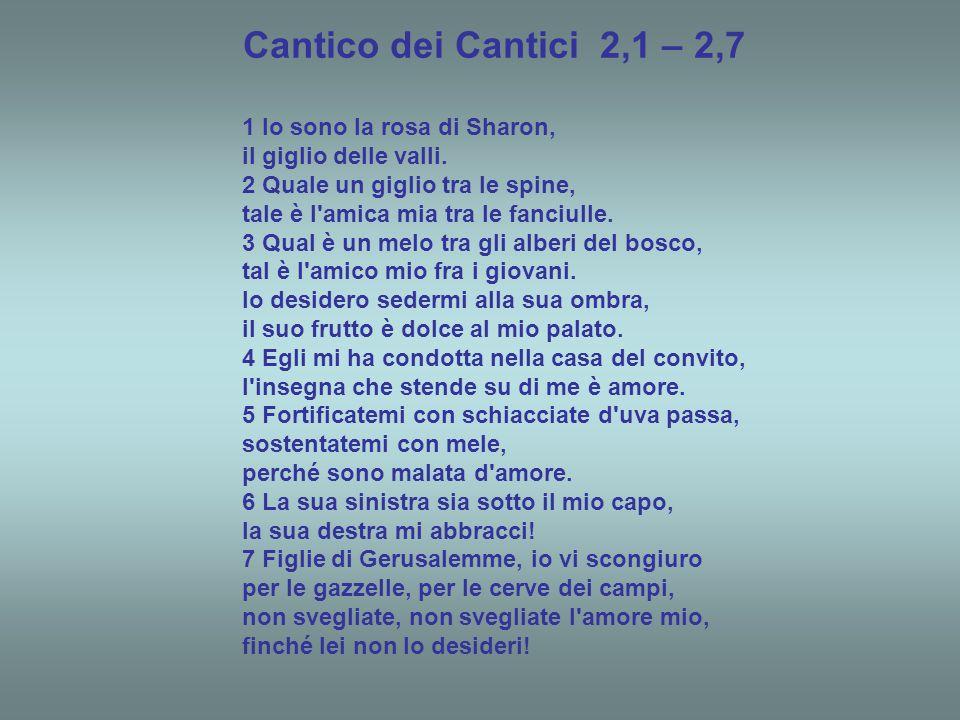 Cantico dei Cantici 2,1 – 2,7 1 Io sono la rosa di Sharon,