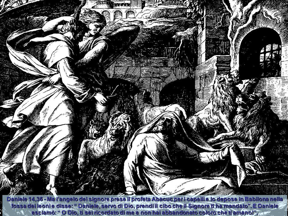 Daniele 14,36 - Ma l'angelo del signore prese il profeta Abacuc per i capelli e lo depose in Babilona nella fossa dei leoni e disse: Daniele, servo di Dio, prendi il cibo che il Signore ti ha mandato .
