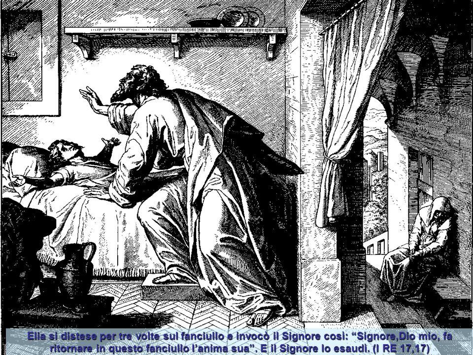 Elia si distese per tre volte sul fanciullo e invocò il Signore così: Signore,Dio mio, fa ritornare in questo fanciullo l'anima sua .