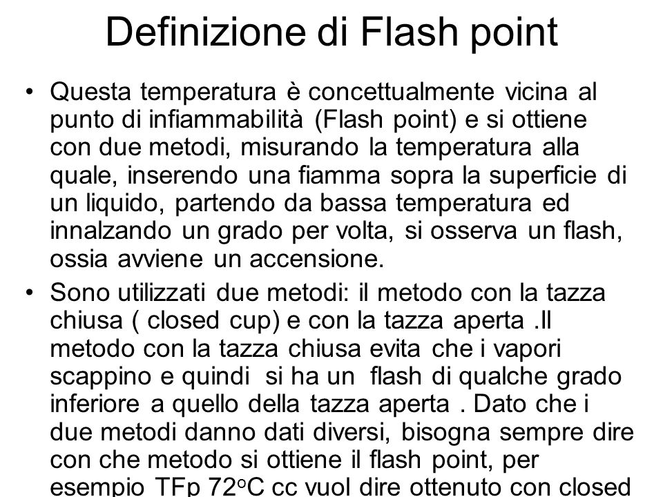 Definizione di Flash point