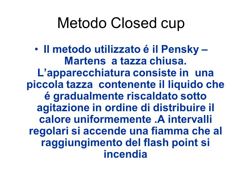 Metodo Closed cup