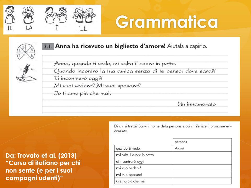 Grammatica Da: Trovato et al. (2013) Corso di italiano per chi