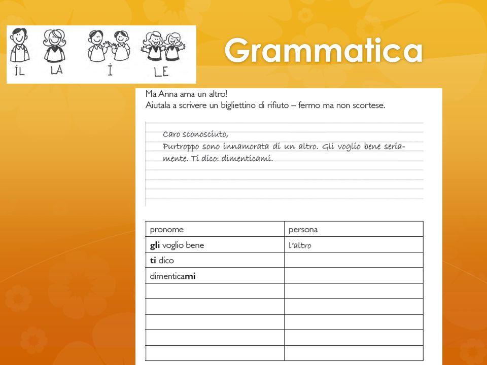 Grammatica Qui viene chiesta una produzione libera, tenendo però l'attenzione focalizzata sui pronomi clitici.