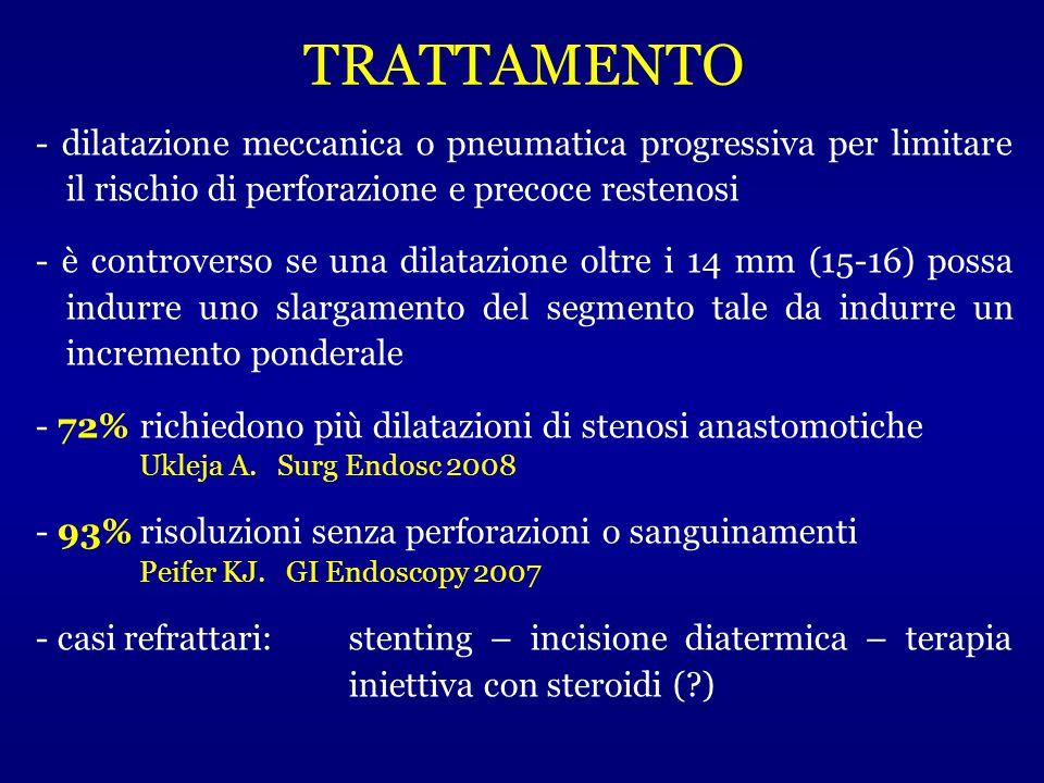 TRATTAMENTO - dilatazione meccanica o pneumatica progressiva per limitare il rischio di perforazione e precoce restenosi.