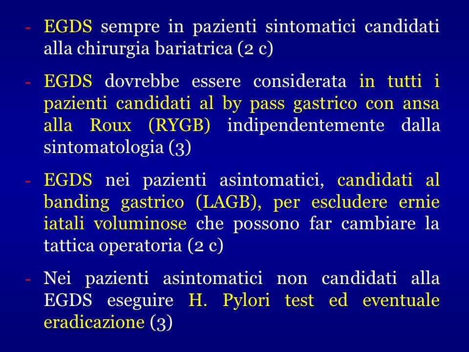 EGDS sempre in pazienti sintomatici candidati alla chirurgia bariatrica (2 c)
