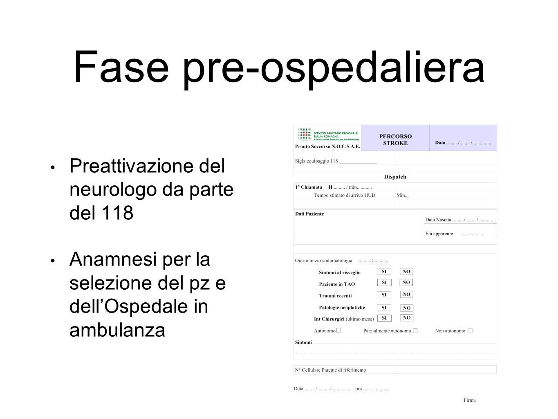 Fase pre-ospedaliera Preattivazione del neurologo da parte del 118