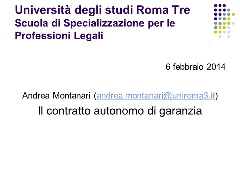 Università degli studi Roma Tre Scuola di Specializzazione per le Professioni Legali