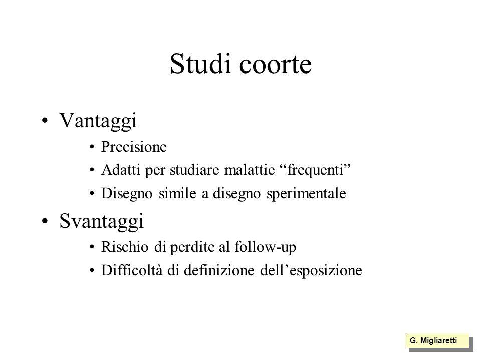 Studi coorte Vantaggi Svantaggi Precisione