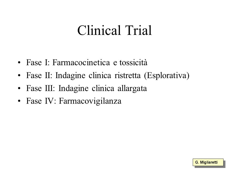 Clinical Trial Fase I: Farmacocinetica e tossicità