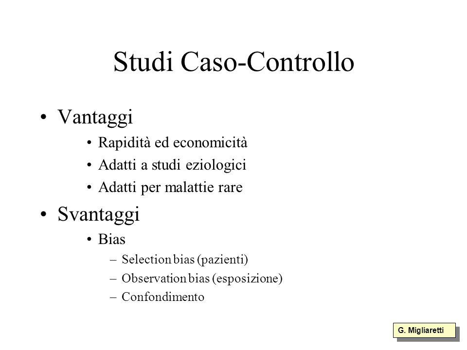 Studi Caso-Controllo Vantaggi Svantaggi Rapidità ed economicità