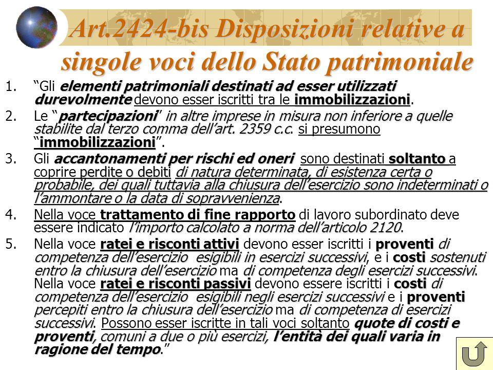 Art.2424-bis Disposizioni relative a singole voci dello Stato patrimoniale