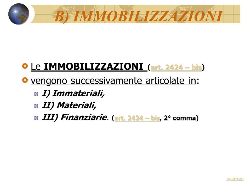 B) IMMOBILIZZAZIONI Le IMMOBILIZZAZIONI (art. 2424 – bis)