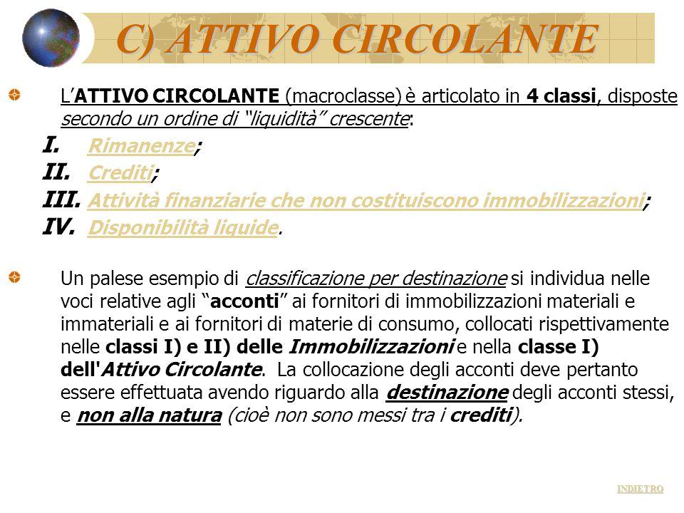 C) ATTIVO CIRCOLANTE L'ATTIVO CIRCOLANTE (macroclasse) è articolato in 4 classi, disposte secondo un ordine di liquidità crescente: