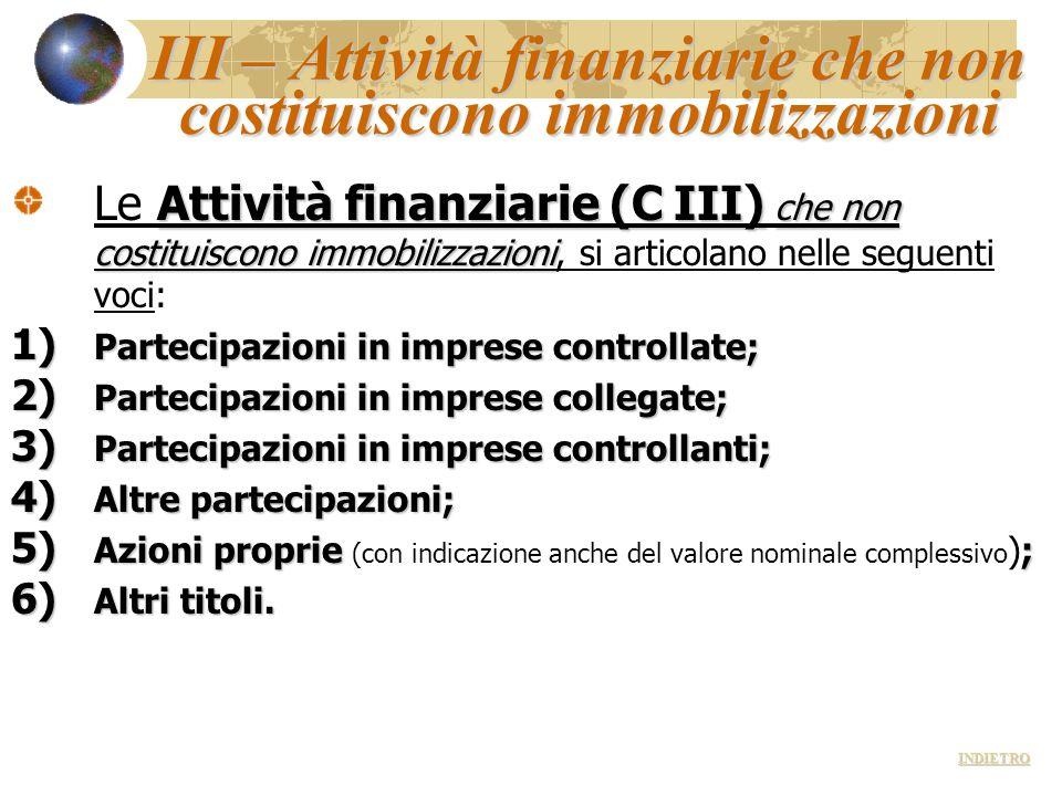 III – Attività finanziarie che non costituiscono immobilizzazioni