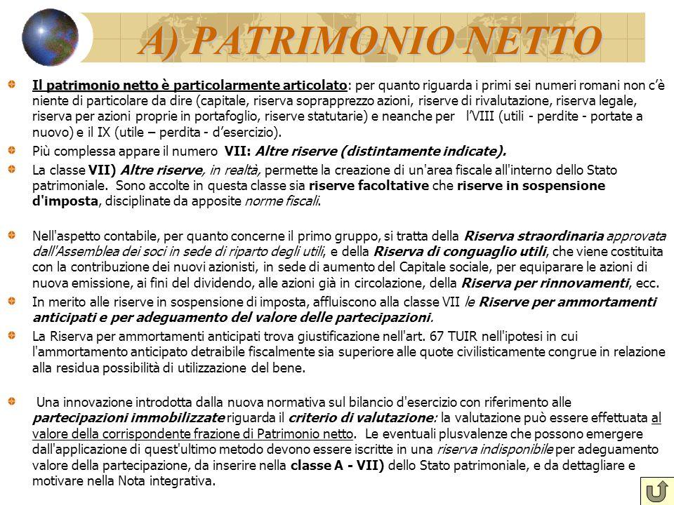 A) PATRIMONIO NETTO