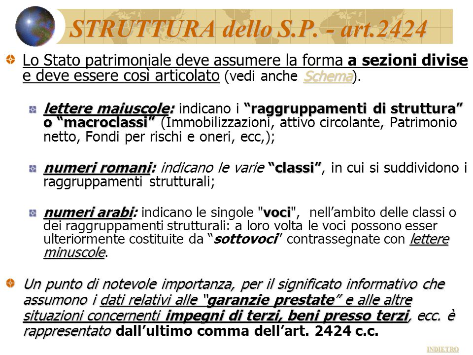 STRUTTURA dello S.P. - art.2424