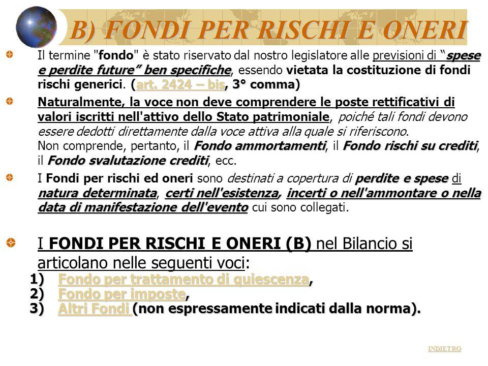 B) FONDI PER RISCHI E ONERI