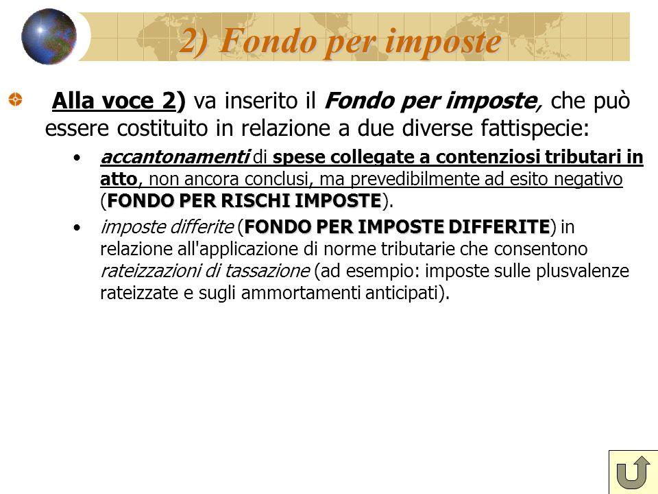 2) Fondo per imposte Alla voce 2) va inserito il Fondo per imposte, che può essere costituito in relazione a due diverse fattispecie: