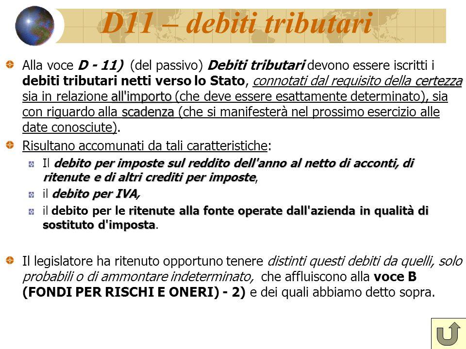 D11 – debiti tributari