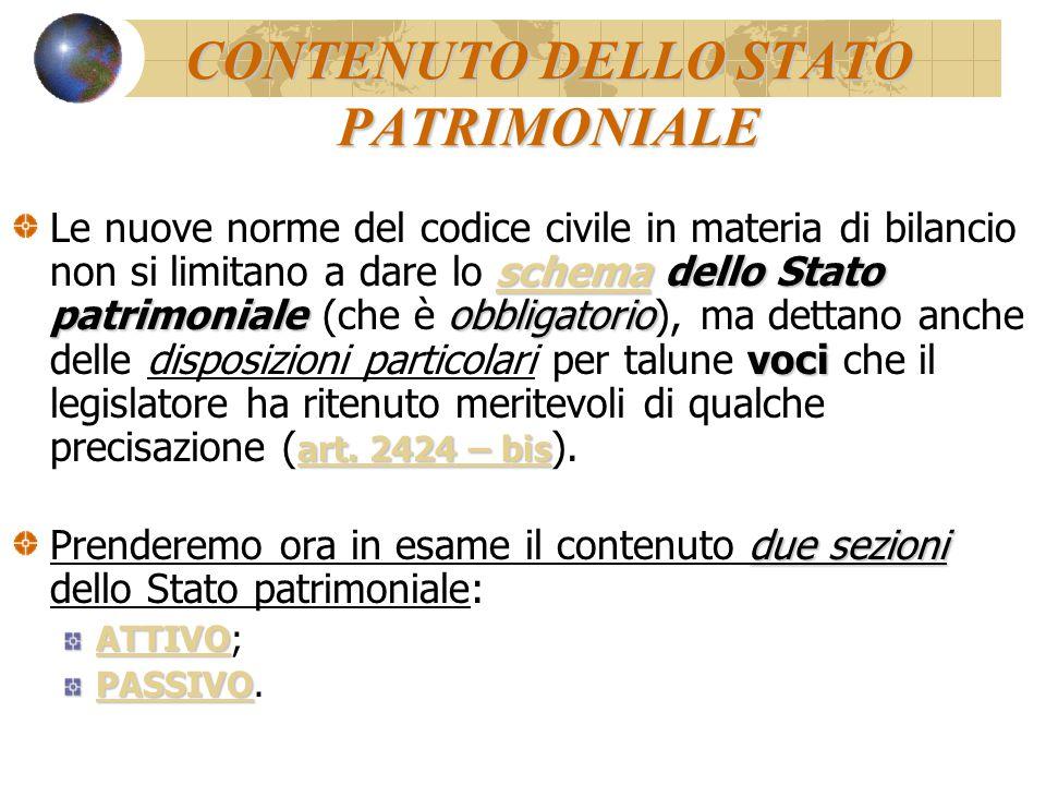 CONTENUTO DELLO STATO PATRIMONIALE