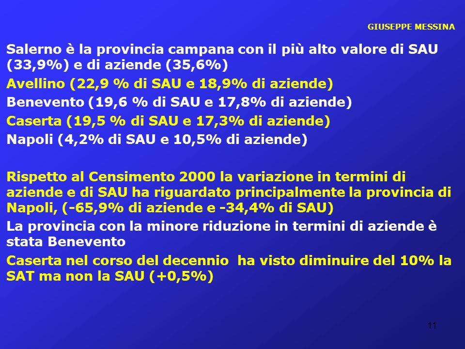Avellino (22,9 % di SAU e 18,9% di aziende)