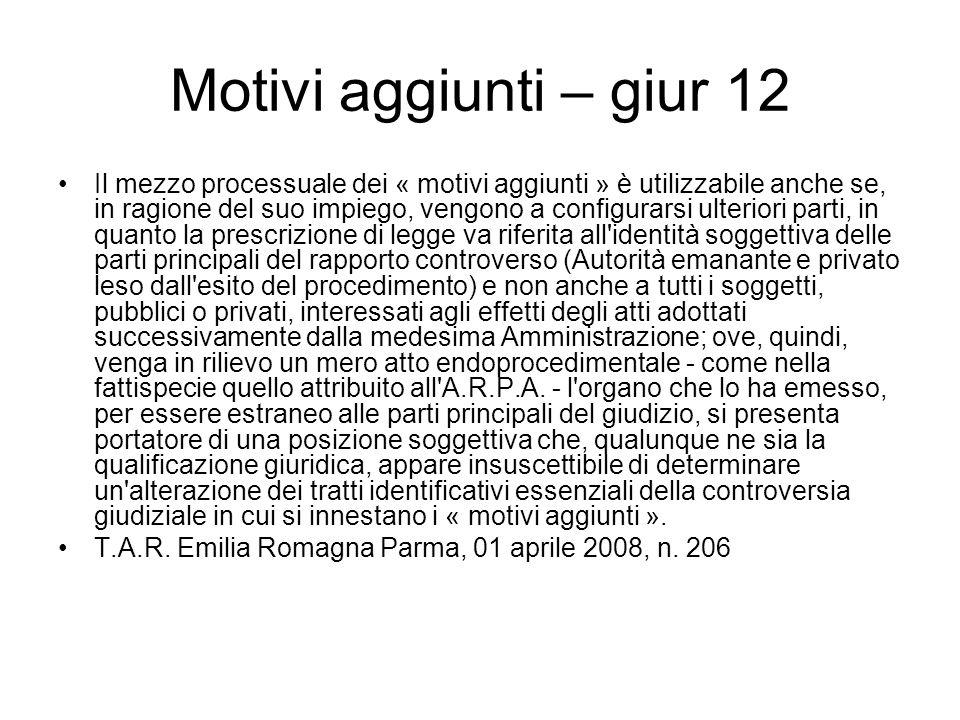 Motivi aggiunti – giur 12
