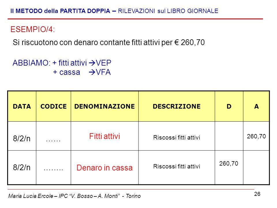 Si riscuotono con denaro contante fitti attivi per € 260,70