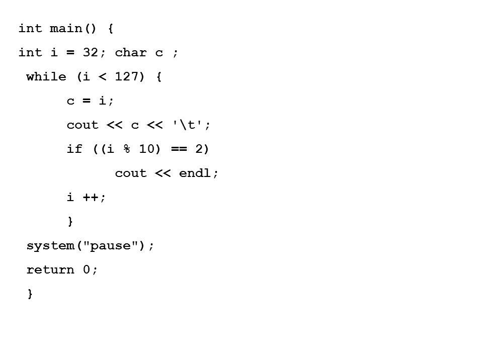 int main() { int i = 32; char c ; while (i < 127) { c = i; cout << c << \t ; if ((i % 10) == 2)