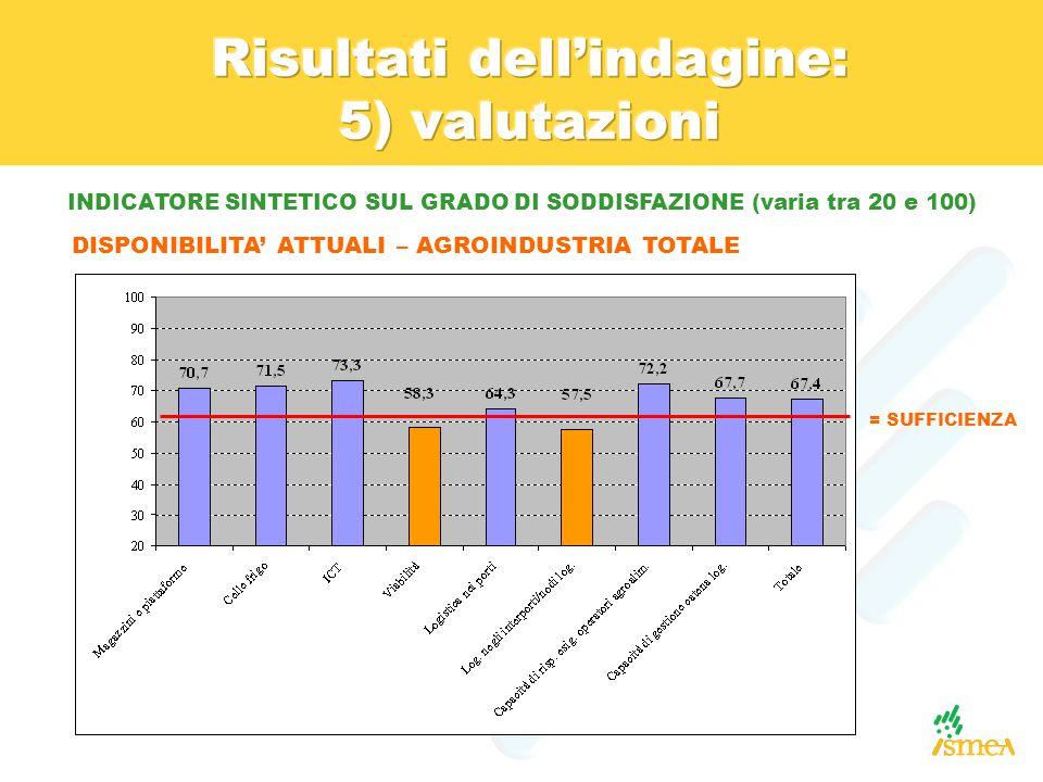 INDICATORE SINTETICO SUL GRADO DI SODDISFAZIONE (varia tra 20 e 100)