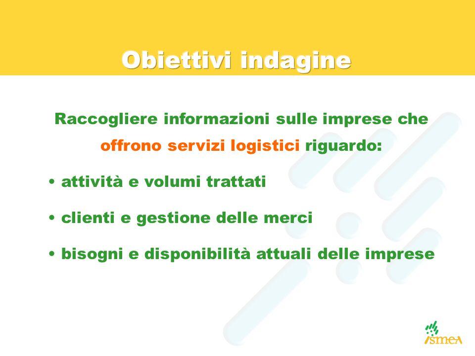 Obiettivi indagine Raccogliere informazioni sulle imprese che offrono servizi logistici riguardo: attività e volumi trattati.